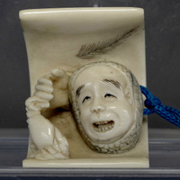 "sale: NETSUKE - Japanese Signed Miniature Carving - man and crab ""Ouch!"""