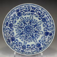 sale: Chinese blue and white plate w/ Yongzheng official porcelain mark