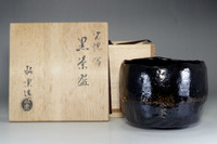 "sale: KURO RAKU CHAWAN ""Koetsu model"" Black Pottery Tea Bowl by Shoraku w/box"