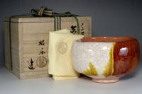 """sale: - RAKU CHAWAN """"Nonko model"""" Pottery Tea Bowl by Shoraku w/box"""