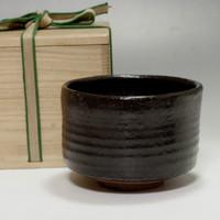 SETOGURO Vintage Black Japanese Pottery Tea Ceremony Bowl w Wooden Box #870
