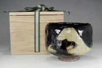 sale: Kuro raku chawan - Antique Japanese black pottery bowl w / awasebako