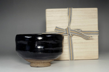 sale: Kuro raku chawan - black tea bowl marked 12th Raku Konyu w/ wooden box