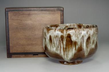 sale: Tea bowl in Kamikake ware