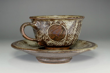 sale: Pottery Tea Cup and Saucer in Masiko Ware by Simaoka Tatsuzo