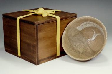 sale: Antique artistic kakewake technique hagi tea bowl