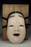 sale: Wooden noh mask 'Koomote' by Okita Masatatsu