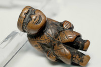 sale:  Netsuke' antique wooden miniature carving 'the ainu' in Edo