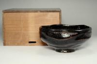 sale: Antique kuro-raku tea bowl by 7th Raku Chonyu