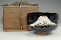 sale: Antique kuro-raku Mt. Fuji tea bowl