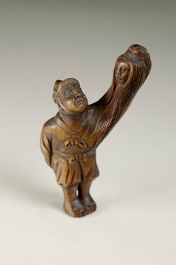sale:  Vintage 'yokai netsuke' boxwood miniature carving