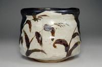 sale: 'Kuro oribe chawan' black glazed tea bowl