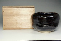 sale: 10th Raku Tannyu antique kuro-raku tea bowl