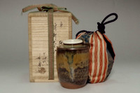 sale: Kamei Miraku 14th 'katatsuki chaire' takatori pottery tea caddy