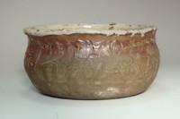 Otagaki Rengetsu 'kensui' antique poem carved pottery bowl #3097