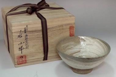 sale: Ji Soon Tak 'hakeme chawan' brush marked tea bowl