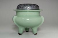 sale: Suwa Sozan 'koro' jade green celadon incense burner w/ silver lid