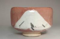 sale: Kawasaki Waraku 'aka-raku Fuji chawan' pottery tea bowl