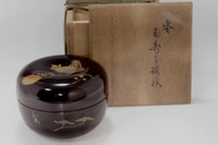 natsume antique japanese lacquered tea caddy w/box #3163