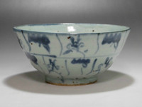 sale: Vintage Chinese Blue and White Porcelain Bowl in Late Qing
