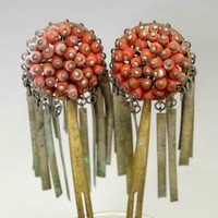 BIRA KANZASHI Antique Japanese Hair Pin w Coral in Meiji