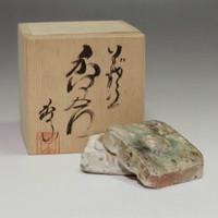 sale: KOGO Modern Japanese Iga Pottery Incense Case for Tea Ceremony