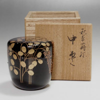 sale Natsume Japanese Tea Ceremony Gold Lacquered Wooden Tea Caddy w/Box & Vintage Japanese lacquered matcha container NATSUME for sale Aboutintivar.Com