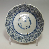 OLD IMARI Antique Japanese Blue and White Porcelain Plate in Edo - Karakusa