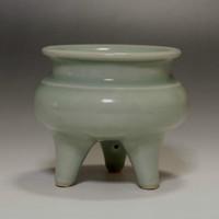 sale: Vintage Tripod Jade Green Chinese Longquan Celadon Porcelain Incense Burner