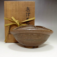 KARATSU CHAWAN Antique Japanese Pottery Tea Ceremony Bowl w Box in Edo