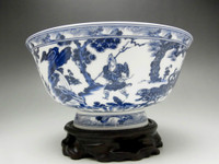 Fine Modern Chinese Blue and White Porcelain Bowl w Pedestal #1695