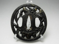 SUKASHI TSUBA Antique Japanese Iron Samurai Sword Guard