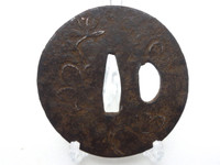 TSUBA Antique Japanese Iron Inlay Samurai Sword Guard