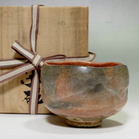 sale: Raku Chawan Japanese Kyo Pottery Tea Ceremony Bowl Signed with wooden box