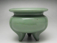 Vintage Tripod Jade Green Chinese Porcelain Incense Burner #1359