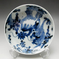 OLD IMARI Antique Japanese Blue and White Porcelain Deep Plate - Dragon