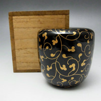 NATSUME Vintage Japanese Gold Lacquered wooden Tea Caddy with box #1813