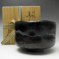 RAKU Vintage Black Japanese Signed Pottery Tea Ceremony Bowl w Tomobako #1815