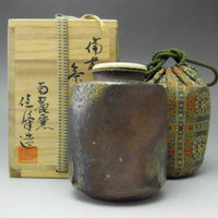 CHAIRE Modern Japanese Bizen Pottery Tea Caddy w Signed Box