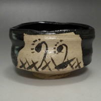Modern Japanese Oribe Pottery Tea Bowl