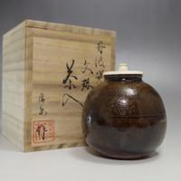 Modern Bunrin shaped Japanese Tamba Pottery Tea caddy