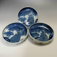 Old Imari - 3 Antique Japanese Blue and White Porcelain Deep Plates