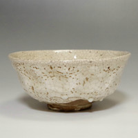 Shino chawan - Vintage Japanese Pottery Tea Bowl #1944