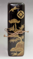 Antique Makie Fubako - Japanese Gold Lacquered Wooden Letter Box in Meiji #2056