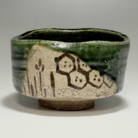 sale: ORIBE CHAWAN Japanese Pottery Tea Bowl