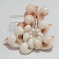 sale:OBIDOME Vintage Japanese Coral Sash Clip White and Pink