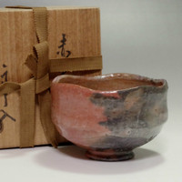sale: AKA RAKU CHAWAN Antique Japanese Pottety Tea Bowl w/Box The Ninth Raku