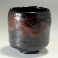KURO RAKU CHAWAN Black Pottery Tea Bowl by Sasaki Shoraku #2198