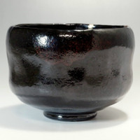 sale: KURO RAKU CHAWAN Black Pottery Tea Bowl by Sasaki Shoraku