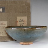 Chinese Blue Pottery Bowl w Box #2281